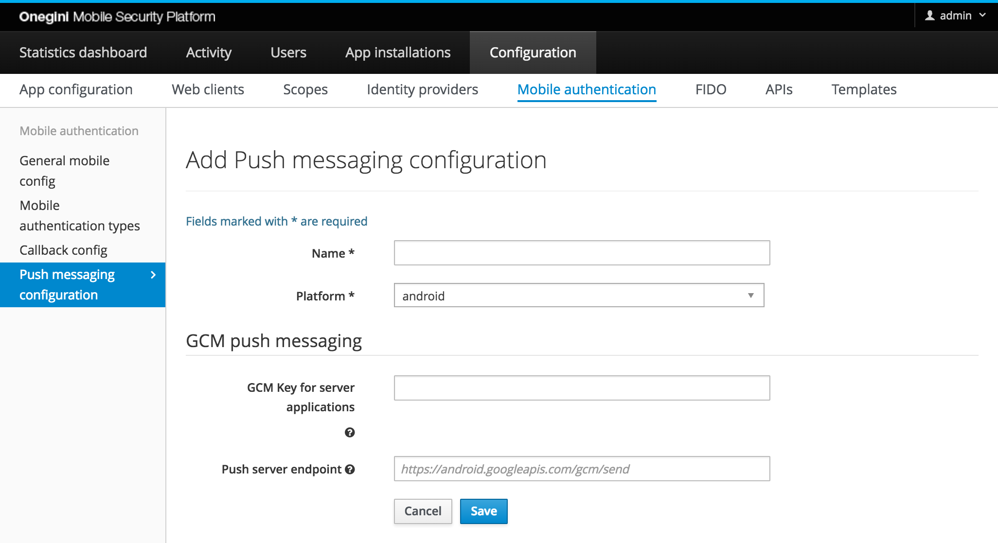 Mobile authentication configuration | Onegini Token Server